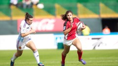 Action from Round 1 of the IRB Women's Sevens World Series as Canada beat France in the opening match at 7he Sevens Stadium during the Emirates Dubai Rugby Sevens. Photo: IRB/ Martin Seras Lima