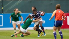 Victoria Folayan in action for the USA women's Sevens side in their 12-12 draw with Ireland. Photo: IRB/Martin Seras Lima