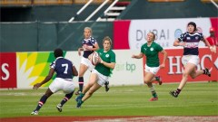 Ireland drew 12-12 with the USA in their first match as a core side on the IRB Women's Sevens World Series. Photo: IRB/Martin Seras Lima