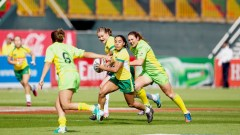 Brazil's number 4 Edna Santini in action for Brazil against Australia in Round 1 of the IRB Women's Sevens World Series in Dubia. Photo: IRB/ Martin Seras Lima
