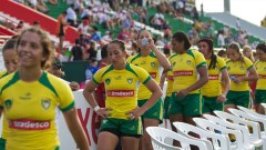 Brazil's women leave the pitch on Day 1 of the IRB Women's Sevens World Series in Dubai.