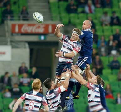 Luke Jones of the Rebels wins the ball from a line out during the round 13 Super Rugby match between the Rebels and the Blues at AAMI Park on May 8, 2015 in Melbourne, Australia.