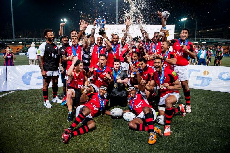 BCG Asia Pacific Dragons celebrates after winning the 2015 GFI HKFC Tens at the Hong Kong Football Club on 26 March 2015 in Hong Kong, China. Photo by Xaume Olleros / Power Sport Images