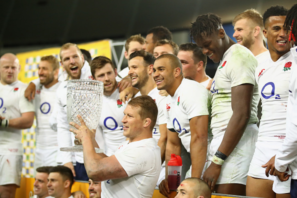 SYDNEY, AUSTRALIA - JUNE 25: England captain Dylan Hartley poses with the Cook Cup and team mates after winning the International Test match between the Australian Wallabies and England at Allianz Stadium on June 25, 2016 in Sydney, Australia.  (Photo by Cameron Spencer/Getty Images)