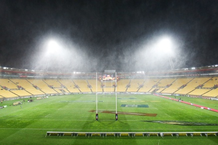 during the Super Rugby Quarterfinal match between the Hurricanes and the Sharks at Westpac Stadium on July 23, 2016 in Wellington, New Zealand.