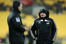 WELLINGTON, NEW ZEALAND - JULY 23: Coach Chris Boyd and assistant coach John Plumtree of the Hurricanes look on during the Super Rugby Quarterfinal match between the Hurricanes and the Sharks at Westpac Stadium on July 23, 2016 in Wellington, New Zealand. (Photo by Hagen Hopkins/Getty Images)