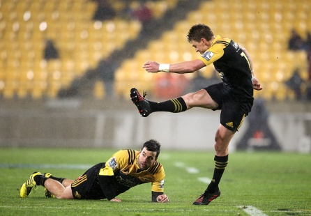 Beauden Barrett of the Hurricanes kicks a conversion during the Super Rugby quarter-final match between South Africa's Coastal Sharks and New Zealand's Wellington Hurricanes at Westpac Stadium in Wellington on July 23, 2016. / AFP / MARTIN HUNTER (Photo credit should read MARTIN HUNTER/AFP/Getty Images)