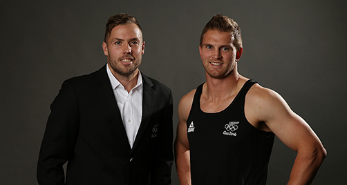 AUCKLAND, NEW ZEALAND - JUNE 29: New Zealand Rugby Sevens Player Tim Mikkelson (L) and Scott Curry at the Prime Minister's Olympic Gala Dinner at Sky City on June 29, 2016 in Auckland, New Zealand. The New Zealand Olympic Committee revealed the casual and training uniform for the Rio Olympic Games at the Prime Minister's Olympic Gala Dinner in Auckland tonight. (Photo by Michael Bradley/Getty Images for NZOC)