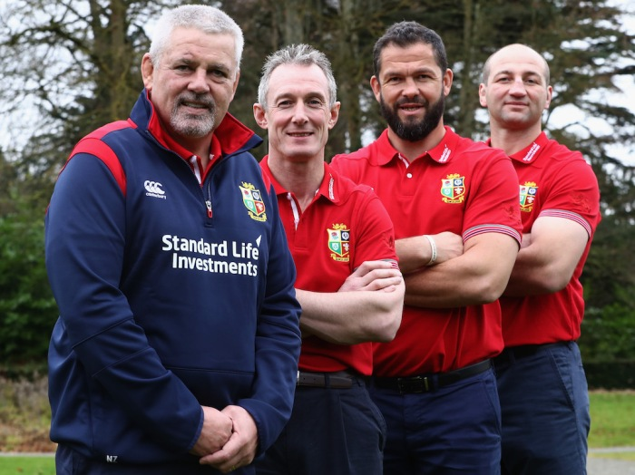 MAYNOOTH, IRELAND - DECEMBER 07: (L-R) Warren Gatland, head coach, Rob Howley, backs coach, Andy Farrell, defence coach and Steve Borthwick the forwards coach during the 2017 British & Irish Lions Coaching Team Announcement held at Carton House Hotel on December 7, 2016 in Maynooth, Ireland. (Photo by David Rogers/Getty Images)