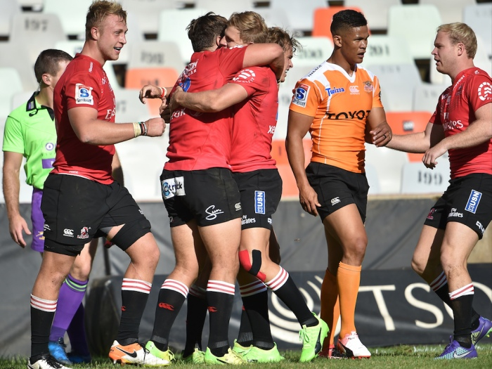 BLOEMFONTEIN, SOUTH AFRICA - FEBRUARY 25: Rohan Janse van Rensburg of the Lions scoring his try during the Super Rugby match between Toyota Cheetahs and Emirates Lions at Toyota Stadium on February 25, 2017 in Bloemfontein, South Africa. (Photo by Johan Pretorius/Gallo Images/Getty Images)